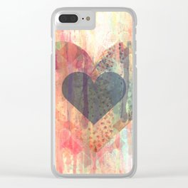 Vintage overlay heart Abstract Clear iPhone Case