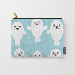 Funny white fur seal pups, cute seals with pink cheeks and big eyes. Kawaii albino animal Carry-All Pouch