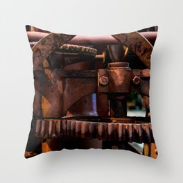 Gears of The Old Rusty Ship Crane Throw Pillow