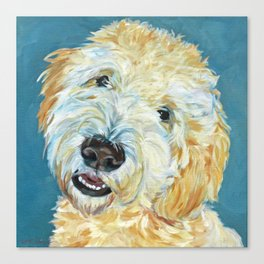 Stanley the Goldendoodle Dog Portrait Canvas Print