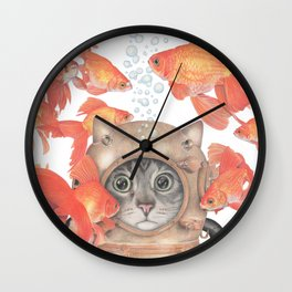Scuba Cat Among the Fishes Wall Clock