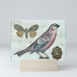 Vintage boho and bird Mini Art Print