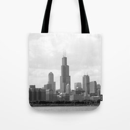 Chicago Skyline Black and White Tote Bag