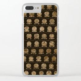 Maya Calendar Glyphs pattern Gold on brown Clear iPhone Case