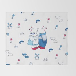 Adorable Dutch hippos in Delft blue style Throw Blanket