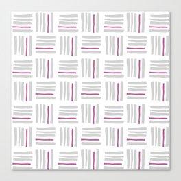 Stripes×Checkered Pattern_White&Pink Canvas Print