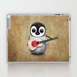 Baby Penguin Playing Japanese Flag Acoustic Guitar Laptop & iPad Skin