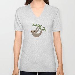 cute Three-toed sloth on green branch Unisex V-Neck