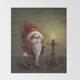New edit: Little Santa in his rocking chair Throw Blanket