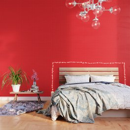Red Grid White Line Wallpaper