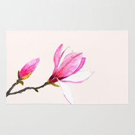 magnolia watercolor painting Rug