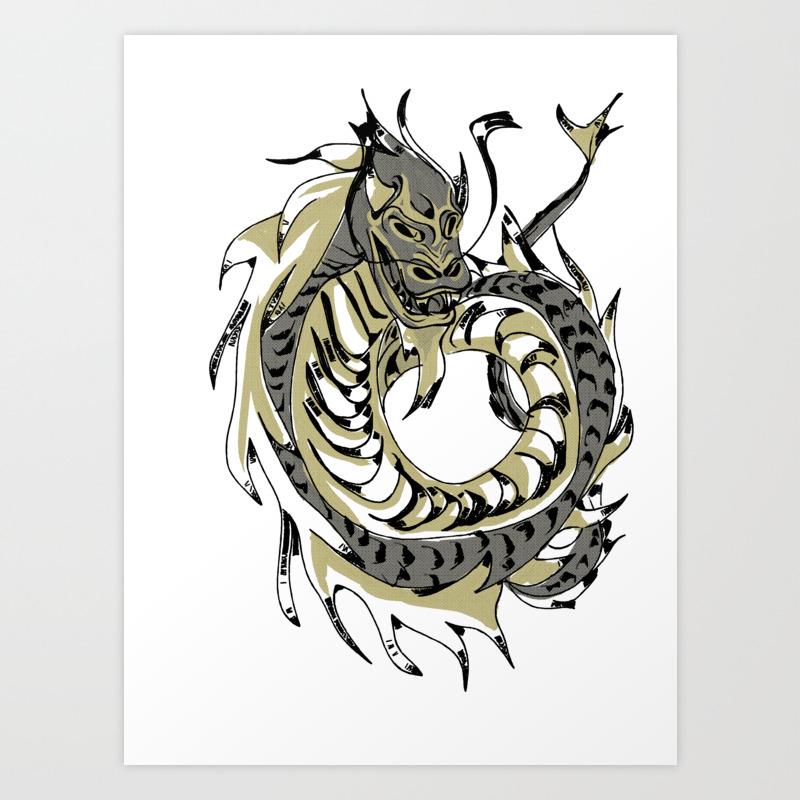 Gold Chinese Dragon Art Print By Lola1b Society6
