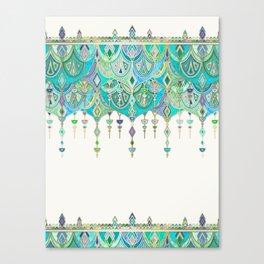 Art Deco Double Drop in Jade and Aquamarine on Cream Canvas Print