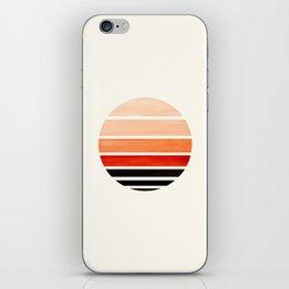 Burnt Sienna Mid Century Modern Minimalist Circle Round Photo Staggered Sunset Geometric Stripe Desi iPhone Skin