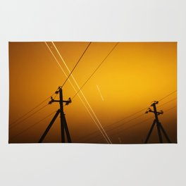Pillar for electricity wire on twilight time Rug