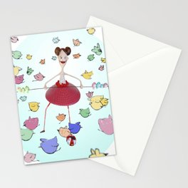 Birds in the circus Stationery Cards