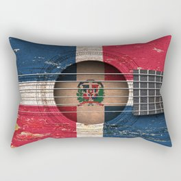 Old Vintage Acoustic Guitar with Dominican Flag Rectangular Pillow