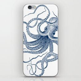 Blue nautical vintage octopus illustration iPhone Skin
