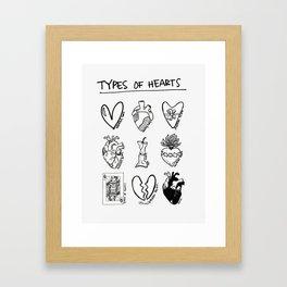 TYPES OF HEARTS Framed Art Print