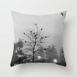 Gathering in the Fog Throw Pillow