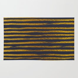 Squiggly Gold Foil Brush Stroke Hand-Painted Lines on Midnight Navy Blue Rug