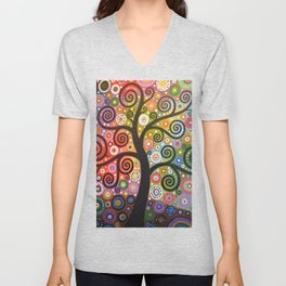 Abstract Art Landscape Original Painting ... Tree of Wishes Unisex V-Neck