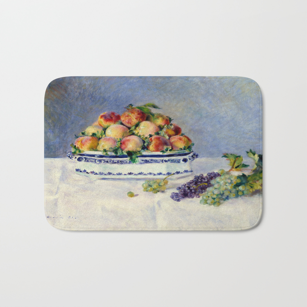 "Auguste Renoir """"still Life With Peaches And Grapes… Bath Mat by Alexandra_arts"" BMT9097175"