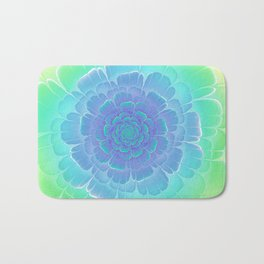 Romantic blue and green flower, digital abstracts Bath Mat