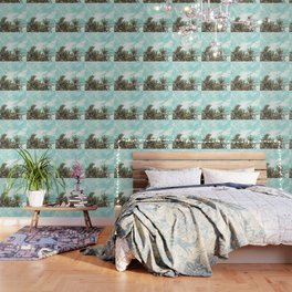 Wild and Free Vintage Palm Trees - Kaki and Turquoise Wallpaper