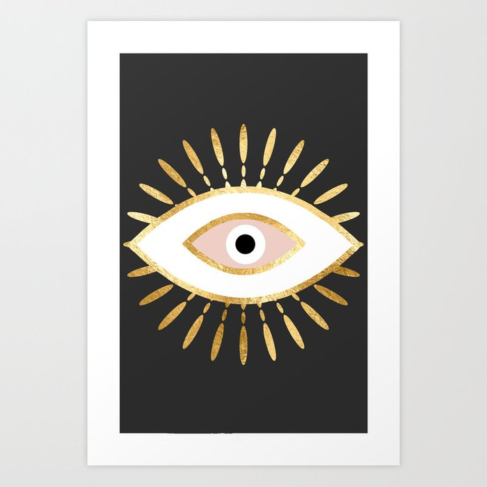 gold foil evil eye in blush Kunstdrucke