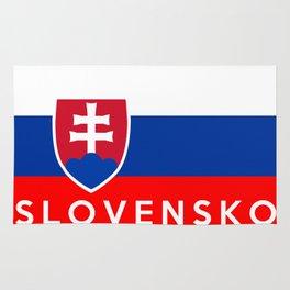 slovakia country flag Slovensko name text Rug