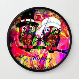 Owl make the rave-up Wall Clock