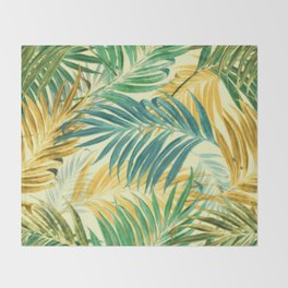 Palm Leaves in Yellow Throw Blanket