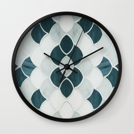 Moroccan Scalloped Flower Teal Wall Clock