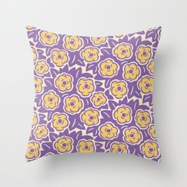 Flower Bouquet Pattern Lavender and Yellow Throw Pillow