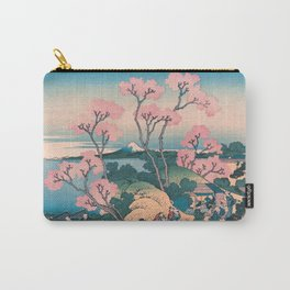 Spring Picnic under Cherry Tree Flowers, with Mount Fuji background Carry-All Pouch