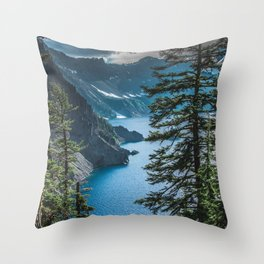 Blue Crater Lake Oregon in Summer Throw Pillow