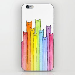 Rainbow of Cats Funny Whimsical Colorful Cat Animals iPhone Skin