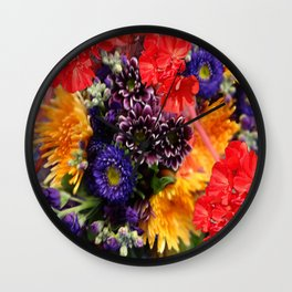 red geraniums flowers floral bouquet Wall Clock