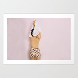 Girl from the back taking off her shirt Art Print