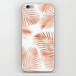 Rose Gold Palm Leaves iPhone Skin