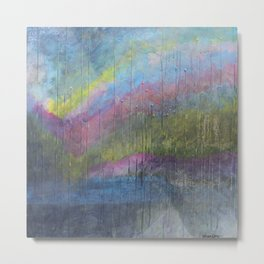 Surprise Valley colorful mixed media abstract landscape Metal Print