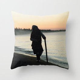 Sunrise Shadow by the lake Throw Pillow