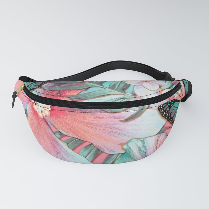 Peachy Mint Hibiscus Tropical Fanny Pack