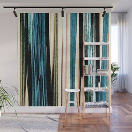 blue turquoise black grey beige pink abstract striped pattern Wall Mural