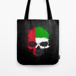 Flag of United Arab Emirates on a Chaotic Splatter Skull Tote Bag