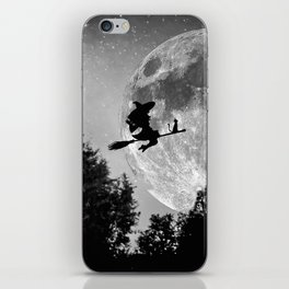 Flying witch | Moon witch | Witch cat | Witch broom | Halloween iPhone Skin