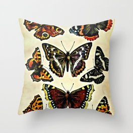 Vintage Butterflies Collage Throw Pillow