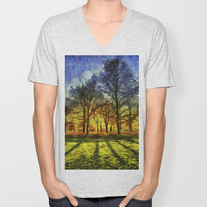 Greenwich Park London Sunset Art Unisex V-Neck