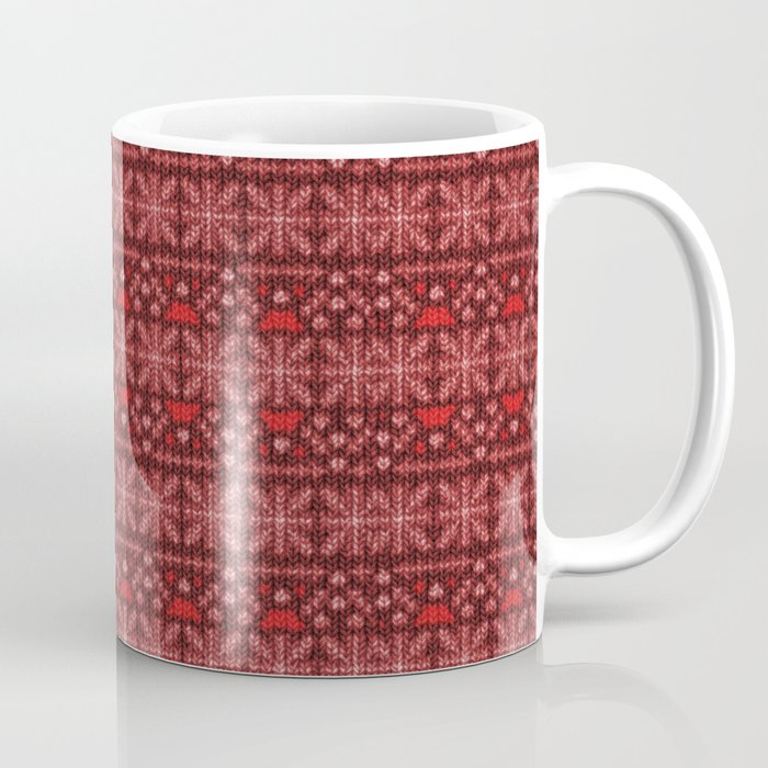 Antiallergenic Hand Knitted Red Winter Wool Pattern -Mix & Match with Simplicty of life Coffee Mug